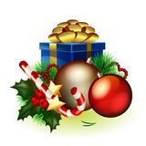 Christmas composition. Bright christmas composition of decorations and gifts Stock Photography