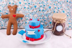 Christmas composition. With cake, bear and jar with cookies Royalty Free Stock Photography