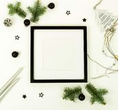 Christmas composition background from black and silber Christmas decorations stock photos