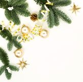 Christmas composition background from Xmas tree and decorations frame pattern royalty free stock images