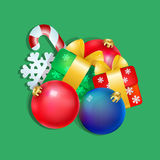 Christmas composition. Of the ball, gifts and sweets Stock Image