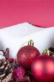 Christmas composition - balls and candle Stock Photography