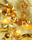 Christmas composition of balls and candles Stock Image
