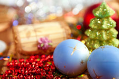 Christmas composition - balls and Christmas tree Royalty Free Stock Photography