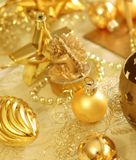 Christmas composition of balls and decor Royalty Free Stock Photography