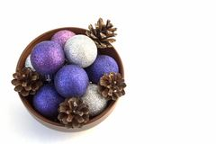 CHRISTMAS COMPOSITION BALLS PINE CONES GIFTS Royalty Free Stock Image