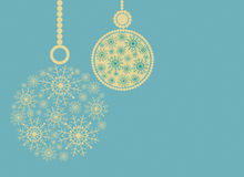 Christmas composition with balls and space for text.Blue,yellow. Illustration Stock Image