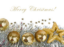 Christmas composition with balls and stars Royalty Free Stock Photography