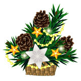 Christmas composition in basket with big silver st. Christmas decoration made of fir twigs in basket with big silver star Royalty Free Stock Photo