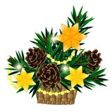 Christmas composition in basket with 3 yellow star. Christmas decoration made of fir twigs in basket with 3 yellow stars Stock Photo
