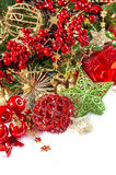 Christmas composition with baubles and golden decorations Stock Photography