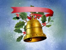 Christmas composition with a bell. A red ribbon and some mistletoe. Digital illustration Stock Photography