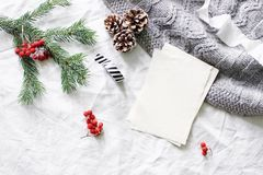 Christmas composition. Blank greeting card, wish list mock-up scene. Christmas tree branch, red rowan berries, pine. Cones and knitted plaid on white linen stock photos