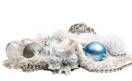 Christmas composition with blue ball Royalty Free Stock Photography