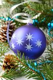 Christmas composition with blue ball and decoration Stock Image