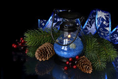 Christmas composition in blue Royalty Free Stock Photo