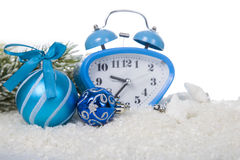 Christmas composition with blue clock Royalty Free Stock Image