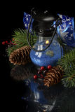 Christmas composition in blue Royalty Free Stock Photos