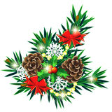 Christmas composition with bows and holly berry. Christmas decoration made of fir twigs with red bows and holly berry Stock Photography