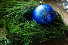 Christmas composition with burning candle and decorations stock images