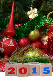 Christmas composition with calendar cubes Stock Image
