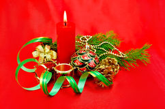 Christmas composition with a candle Stock Photo