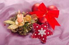 Christmas composition with candle Royalty Free Stock Photo