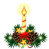Christmas composition with candle and bow Royalty Free Stock Image