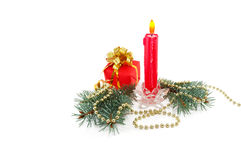 Christmas composition from a candle, branches of a Stock Photos
