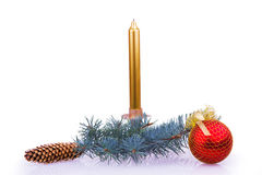 Christmas composition with a candle Royalty Free Stock Photos