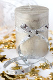 Christmas composition with candle and  ribbon Royalty Free Stock Photography