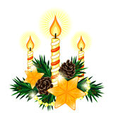 Christmas composition with 3 candles and two stars. Christmas decoration made of fir twigs with 3 candles and two stars Royalty Free Stock Photos