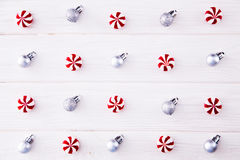 Christmas composition. Candy, christmas decoration. Flat lay, to. P view stock images