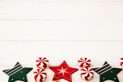 Christmas composition. Candy, christmas decoration. Flat lay, to. P view stock photography