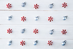Christmas composition. Candy, christmas decoration. Flat lay, to. P view royalty free stock photos