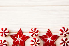 Christmas composition. Candy, christmas decoration. Flat lay, to. P view stock image