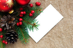 Christmas composition on canvas material Stock Image