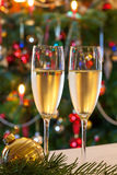 Christmas composition with champagne. Royalty Free Stock Image