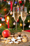 Christmas composition with champagne. Stock Images