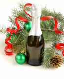 Christmas composition with champagne and gifts Stock Photo
