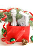 Christmas composition with champagne and gifts Stock Image