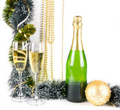 Christmas composition with champagne on white Royalty Free Stock Photos