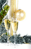 Christmas composition with champagne on white Stock Images