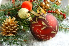 Christmas composition with christmas ball and decoration Royalty Free Stock Image