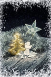 Christmas Composition. Christmas Chain, Tree, Angel, Star And Bauble. Royalty Free Stock Photography