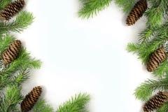 Christmas composition. Christmas frame of fir branches fir cone. Christmas Wallpaper. Flat position. Christmas composition. Christmas frame of fir branches fir Royalty Free Stock Photography