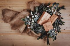 Christmas composition. Christmas gift on wooden background. stock photo