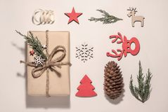 Christmas composition. Christmas gifts, Christmas royalty free stock images