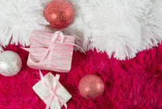 Christmas composition with Christmas toys and gifts, on white an Royalty Free Stock Image