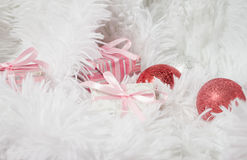 Christmas composition with Christmas toys and gifts, on white te Royalty Free Stock Photography